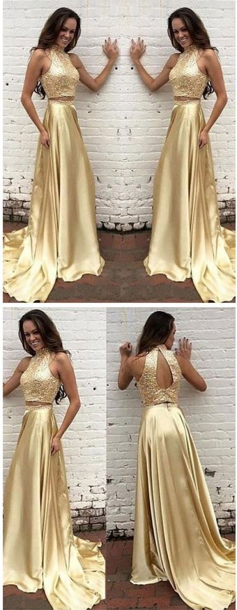 Two Pieces Prom Dress,High Neck Prom Dress,Gold Prom Dress ,New Arrival Prom Dress,Pretty Prom Dresses ,Evening Dresses, Prom Dresses, D0611