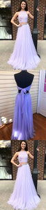 Two Piece Halter Lavender Chiffon Long Prom Dress With Beading, D0614