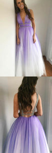 A-Line Deep V-Neck Floor-Length Purple Gradient Tulle Backless Prom Dress with Beading, D0615