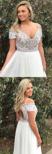 A-Line Square Sweep Train Cold Shoulder Empire White Tulle Prom Dress with Embroidery, D0618