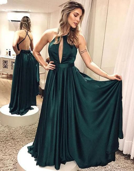 Simple Dark Green Backless Prom Dress,Long Evening Dresses,Halter Neck A Line Long Satin Prom Party Dress , D0623