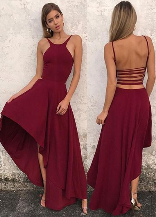 Simple A Line Prom Dress,Halter Prom Dresses,High Low,D0625