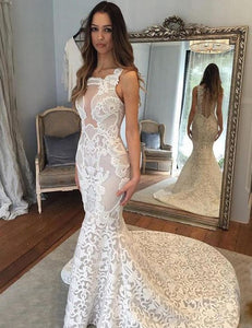 Mermaid Style Square Neck Court Train Lace Wedding Dress,D0626