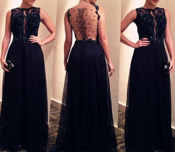 Black See Through Beaded Back Long Prom Dresses 2018, Prom Dresses For Sale, Wedding Party Dresses,D0631