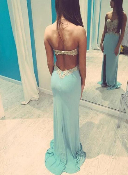 Blue Mermaid Slit Prom Dress 2018 with Applique, Party Dresses, Prom Gowns 2019,D0632