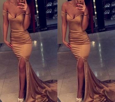 Gold Off Shoulder Slit Prom Dress, Long Sexy Party Dresses, Formal Dresses,D0633