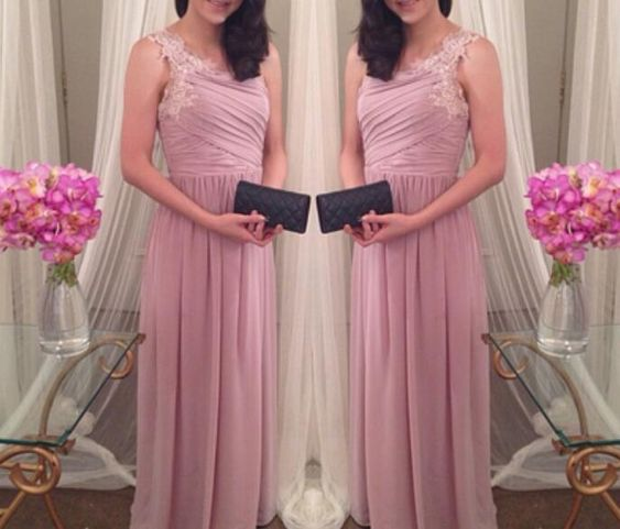Lovely Pink One Shoulder Chiffon Prom Dresses, Pink Dresses with Lace Applique, Women Formal Dresses,D0634