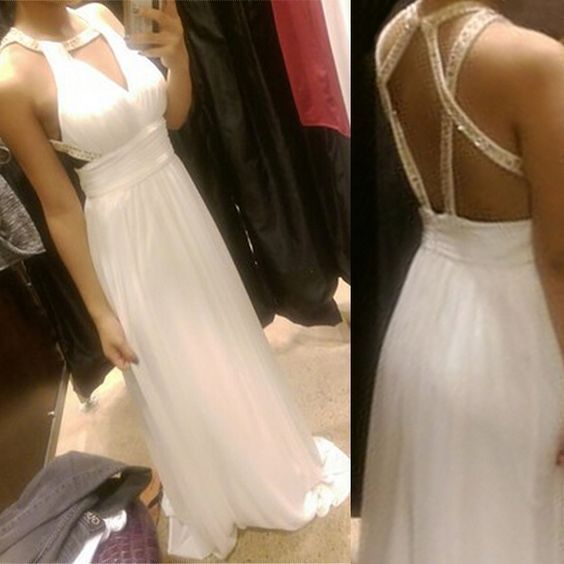 White Simple Cross Back Chiffon Long Prom Dresses 2018, Straps Sequins Formal Gowns, White Prom Dresses,D0635