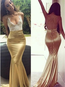 Sexy Mermaid Open Back Simple Cheap Popular Long Prom Dresses ,D0640
