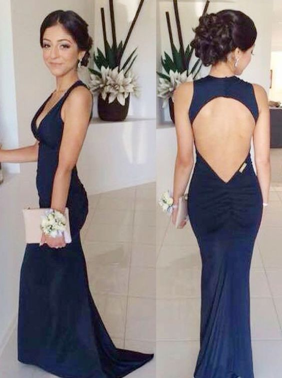 Mermaid V-Neck Open Back Dark Blue Stretch Satin Prom Dress,D0641