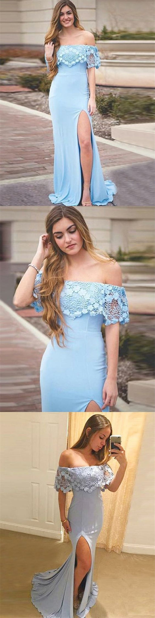 Mermaid Off-the-Shoulder Sky Blue Stretch Satin Prom Dress with Lace,D0645