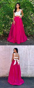Two Piece Scoop Fuchsia Satin Prom Dress with Bowknot, D0649