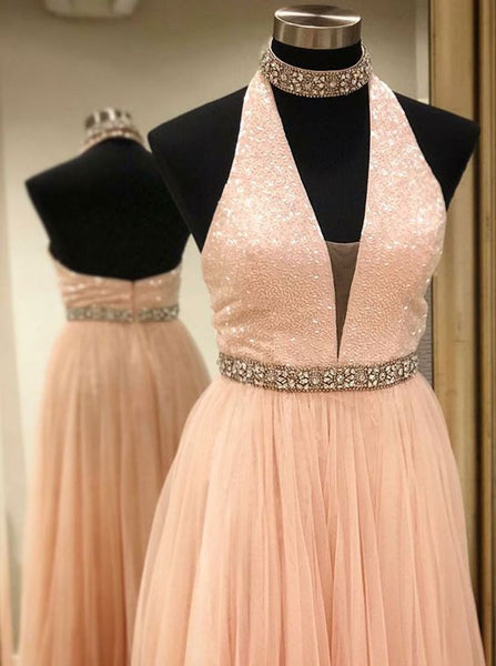 A-Line Halter Low Cut Pink Tulle Prom Dress with Beading,D0650