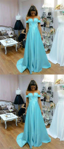 baby blue off shoulder prom party dresses, chic long formal gowns, fashion evening dresses., D0651