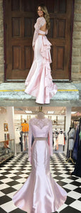 Mermaid Jewel Long Sleeves Sweep Train Pearl Pink Prom Dress with Lace Ruffles,D0654