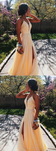 Long Prom Dresses with Slit, Yellow Prom Dresses A-line, V-neck Formal Evening Party Dress Backless, D0655