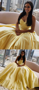 Yellow Prom Dresses Long, Ball Gown Prom Dresses Sweetheart, Satin Formal Evening Dresses Sleeveless,D0656