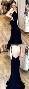 Black Prom Dresses Long, Mermaid Prom Dresses V-neck, Jersey Formal Evening Party Dresses Open Back,D0660