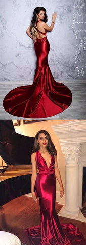 2019 Burgundy Prom Dresses Long, Mermaid Formal Dresses V-neck, Sexy Evening Party Gowns Open Back, D0661