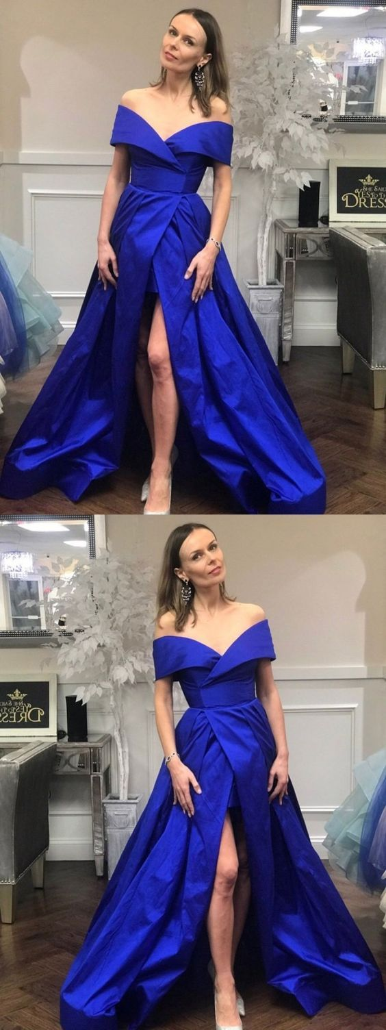2019 Royal Blue Prom Dresses Long, Sexy Prom Gowns with Slit, A-line Party Dresses Off-the-shoulder, D0663