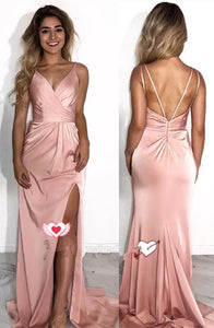 elegant pink long prom dress with side slit, 2019 prom dress, elegant prom dress, graduation dress, formal evening dress,D0668
