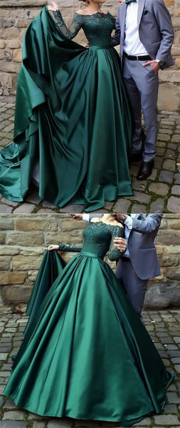 A-Line Off-the-Shoulder Long Sleeves Sweep Train Dark Green Prom Dress with Lace,D0670