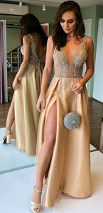 A-Line V-neck Backless Long Champagne Prom Evening Dress with Beading Split,D0672