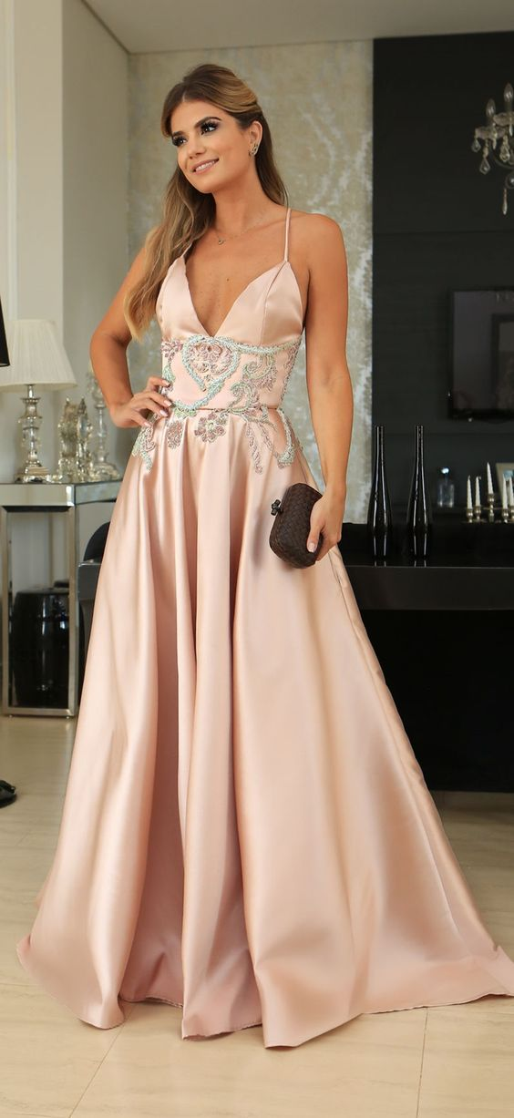 A-Line Spaghetti Straps Floor-Length Pink Prom Evening Dress with Beading, D0673