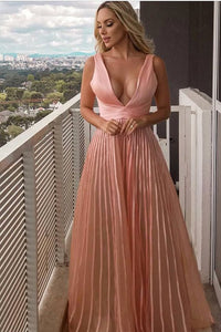 elegant v-neck pink formal prom party dresses, simple evening gowns for special occasion,D0674