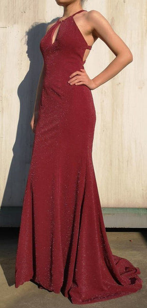 Maroon Long Mermaid Shiny Simple Popular Prom Dresses,D0677