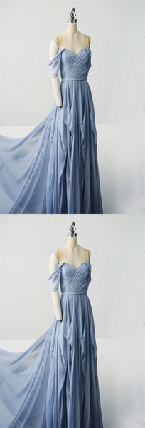 Simple Blue Sweetheart Off Shoulder Prom Dresses Long Evening Dresses, D0681