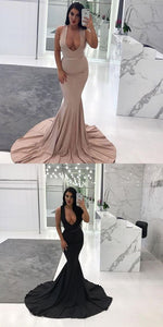 Sexy Plunging V-Neck Sleeveless Sash Sweep Train Mermaid Long Prom Dresses, D0684