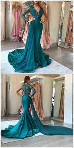 Mermaid Deep V-Neck Sweep Train Green Stretch Satin Prom Dress With Lace Sequins, D0687