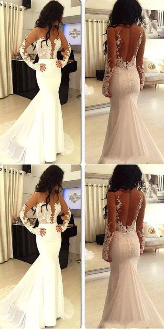 Sexy Applique Wedding Dress Mermaid Prom Dress Open Back Bridal Gowns Long Sleeve Evening Dress, D0691