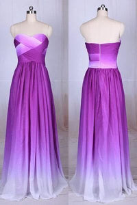Gradient Light Purple Chiffon Sweetheart Simple Junior Prom Dress, Long Party Dress 2019, D0693