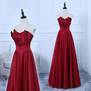 Burgundy Satin New Style Prom Dress 2019, Beautiful Long Party Gown, D0694