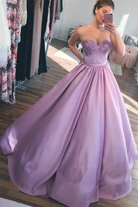 Sweetheart A-line Ball Gown Lilac Evening Prom Dresses, Cheap Custom Sweet 16 Dresses, D0698
