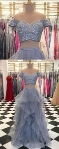 Two Pieces Off Shoulder Grey Beaded Custom Long Evening Prom Dresses, D0700