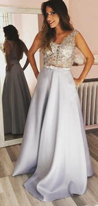 Sexy Lace See Through Grey A-line Long Evening Prom Dresses, Sparkly Sweet 16 Dresses, D0701