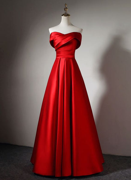 Lovely Off Shoulder Red Satin Long Formal Dress, Pretty Party Dress 2019, Cute Formal Gown, D0702
