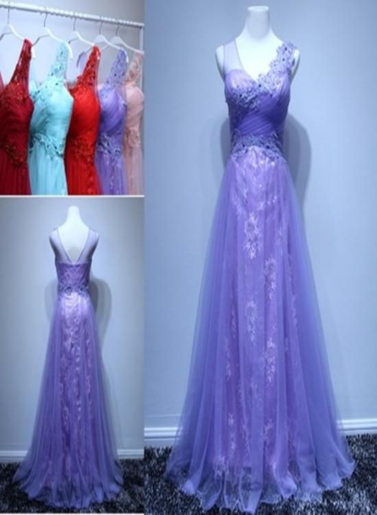 Beautiful Lavender One Shoulder Tulle and Lace Long Prom Dress, Junior Prom Dress, D0703
