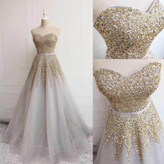 Sequins Shiny Sweetheart Grey Floor Length , D0704