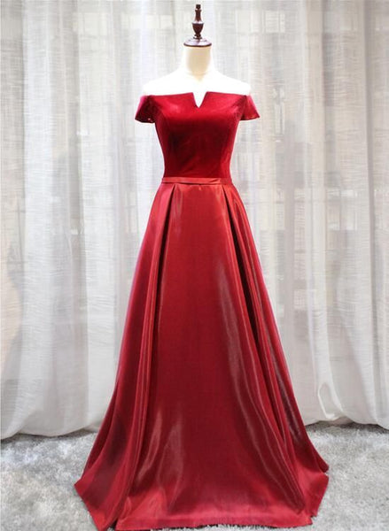 Red Velvet and Satin Long Off Shoulder Formal Dress, Beautiful Prom Dress 2019, D0705