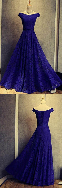 Blue Elegant Lace Party Dresses, Lace Formal Gowns, Lace Party Dress 2019,D0706