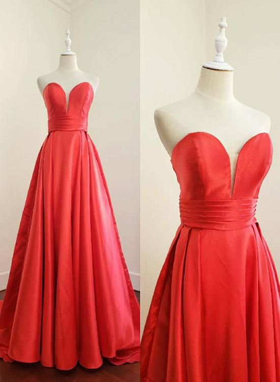 Red Satin Sweetheart Long Prom Dress, Gorgeous Prom Gown 2019, D0707