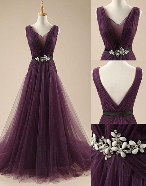 Tulle Purple Elegant Evening Party Dresses, Wedding Formal Gowns, Party Dresses, D0709