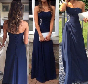 Pretty Simple Navy Blue Long Chiffon  Prom Dresses , D0710