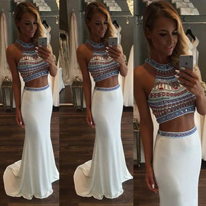 Two Piece Beaded Chiffon Prom Crop Top and Skirt, White Prom Dresses with Gemstones, Sleeveless Halter Prom Dresses, D0711