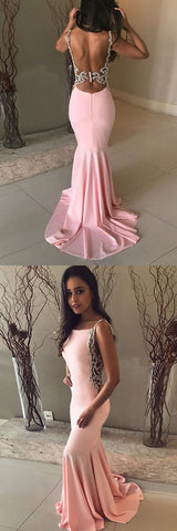 Sexy Backless Pink Mermaid Long Formal Evening Dress, D0713