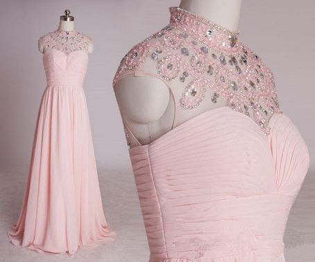 Pink Beaded Elegant Long Formal Dress 2018, Prom Dress 2018, Pink Evening Dresses, D0714